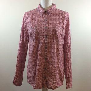 Caslon Women's Size L Button Down Top Gray Pink